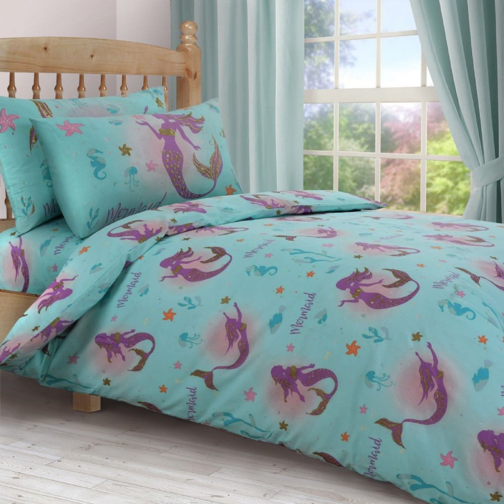 KIDS GIRLS MERMAID DUCK EGG LILAC SEAHORSE BEDDING DUVET QUILT COVER OR CURTAINS